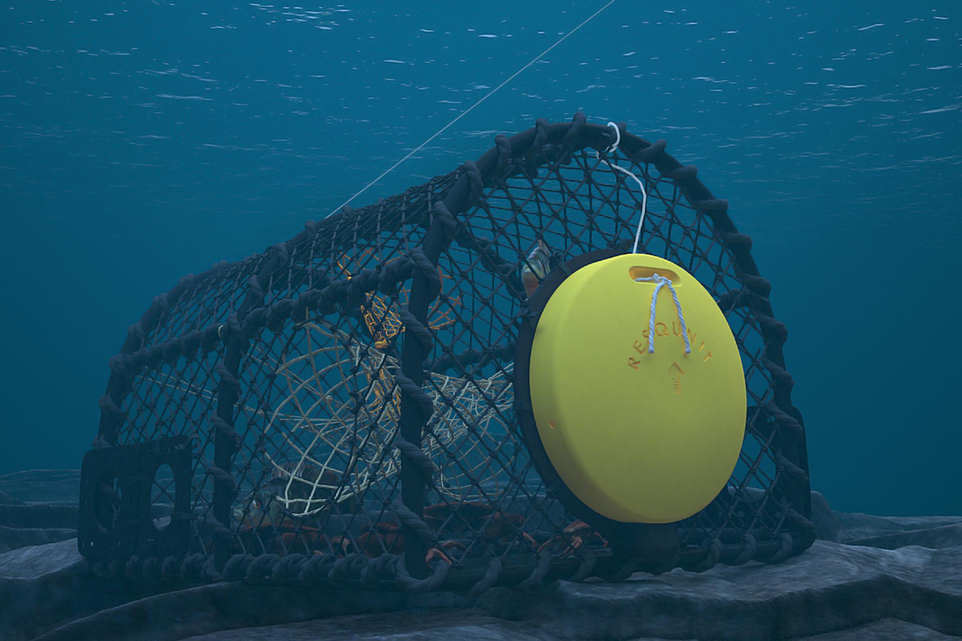 Flottør festet på fiskeredskap under vann