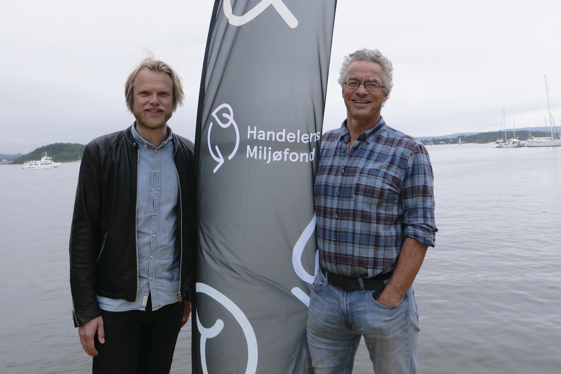 Rasmus Hansson i Handelens Miljøfond og Lars Berg Giskeødegård i Momentium