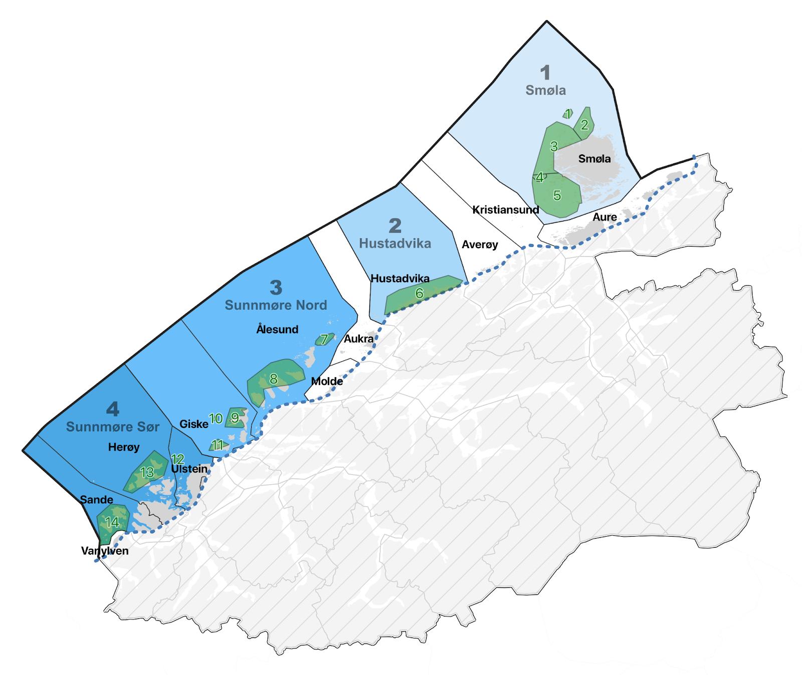 Kart over områder som skal ryddes gjennom Rydd Norge-programmet i Møre og Romsdal