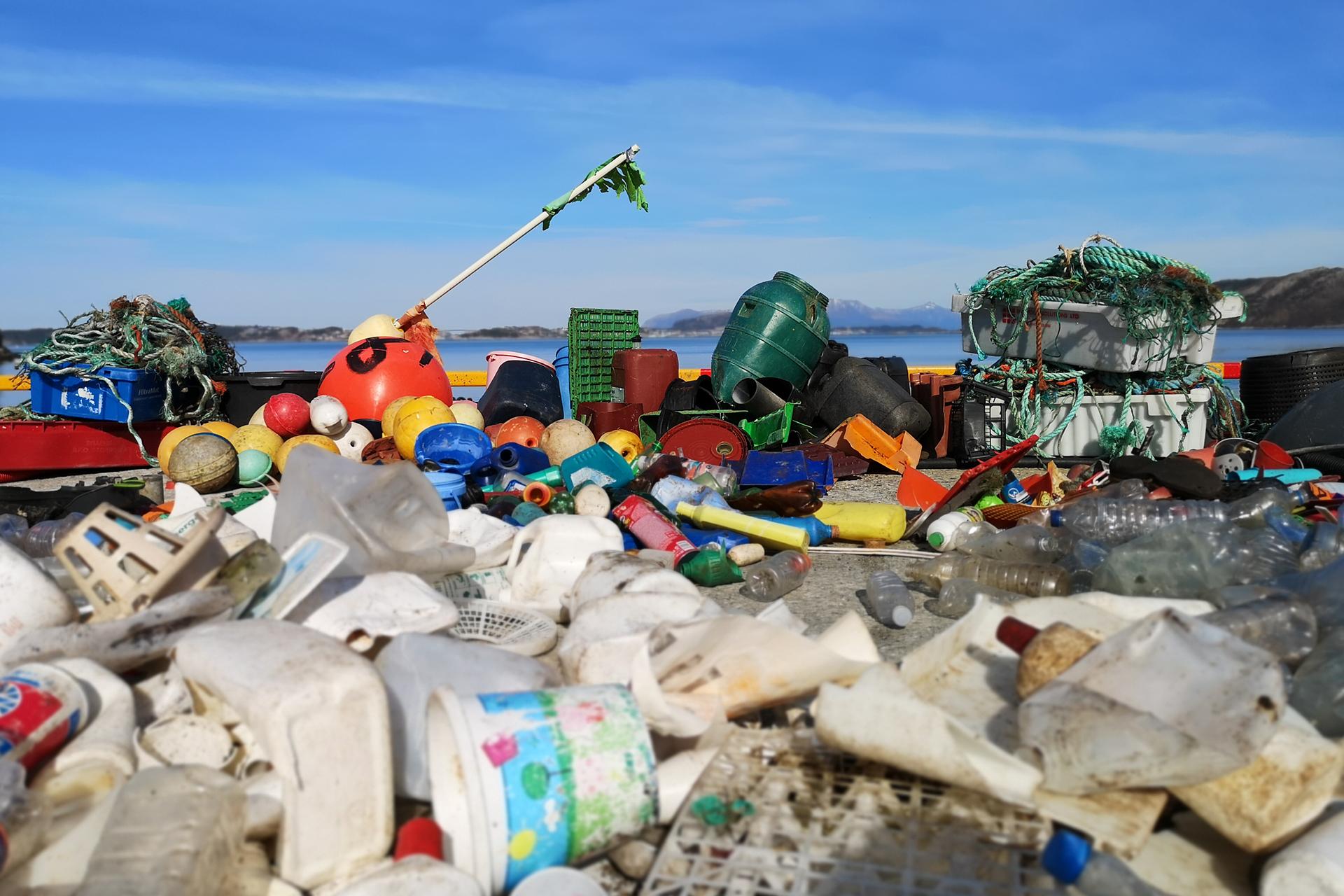 Plastsøppel som ble ryddet og brukt for å lage plastkrabben