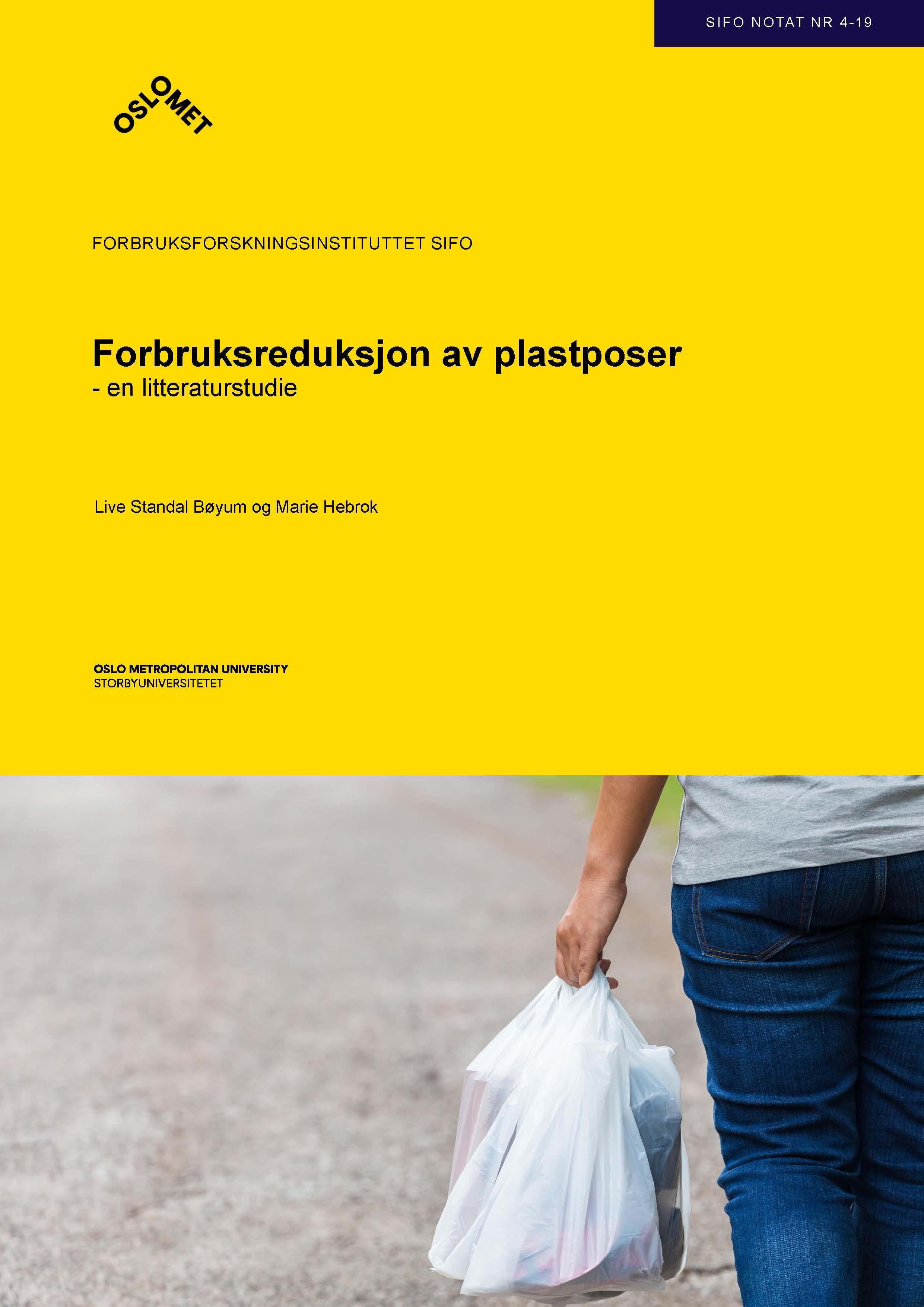 Forside for Forbruksreduksjon av plastposer - en litteraturstudie